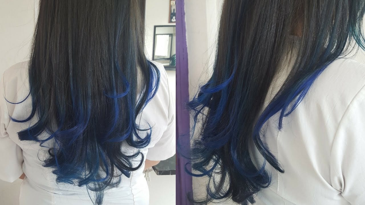 balayage color azul