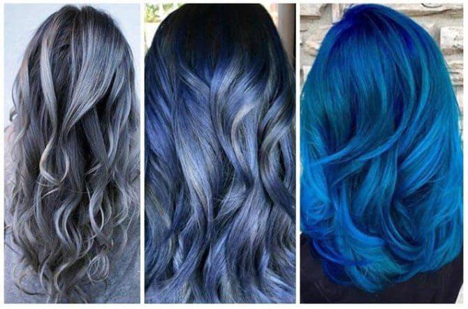 balayage morado y azul