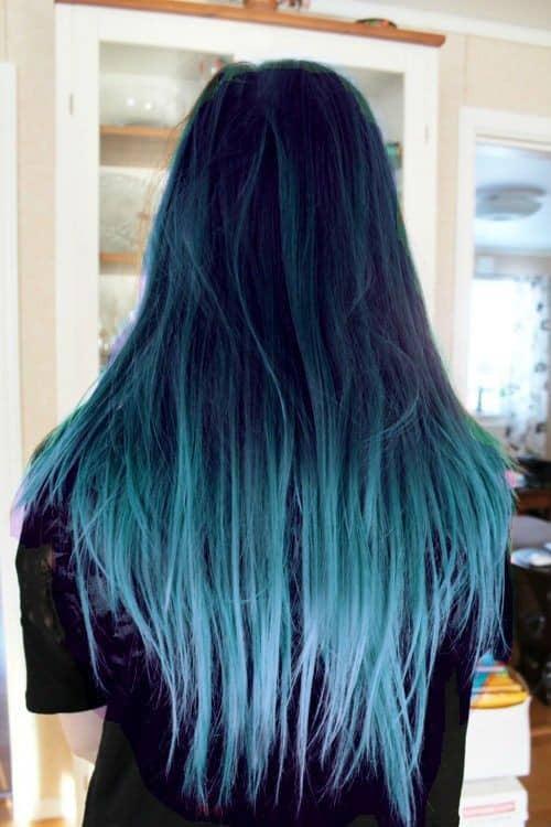 balayage negro azulado